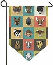 DEZIRO Garten-Flagge, niedliches Tierkopf,