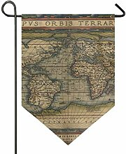 DEZIRO Garten-Flagge, Weltkarte, vertikal,