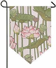 DEZIRO Gartenflagge Blooming Lotus vertikal,