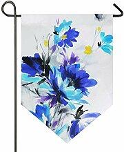 DEZIRO Gartenflagge handbemalte Blumen, vertikal,