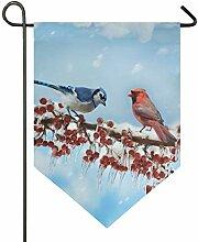 DEZIRO Gartenflagge Kardinals Vögel Winter,