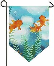 DEZIRO Gartenflagge, süßes Goldfisch, Schwimmen