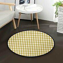 DEZIRO Harlequin Mustard Offwhite Runde Fußmatte