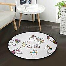 DEZIRO Noble UnicornsRunde Fußmatte Teppich