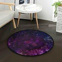 DEZIRO rutschfeste Fußmatte Galaxy, rund, Lila