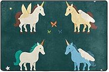 DEZIRO Vier Einhorn-Fußmatte aus Polyester,