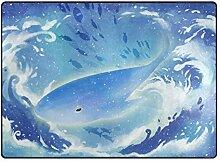 DEZIRO Wal mit Wellen Fußmatte Außenbereich