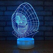 DFDLNL 3D led schädel Lampe 7 Farbe visuelle 3D