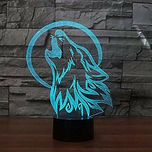 DFDLNL 7 Farben Wolf Lampe 3D visuelle led
