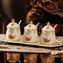 DFFS Europäische Keramik Gewürz Glas Set Spice
