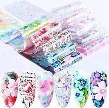 DFGH 20 Stück Blumen-Nagel-Aufkleber Bringen Sie