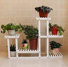 DFHHG® Europäische Einfache Balkon Wohnzimmer Blumenregal Multilayer Boden Pflanzer Regal Massivholz Kiefer Pflanze Blume Regal Amerikanischer Blumenständer