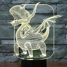 DFHJKO 3D LED Nachtlichter Dinosaurier mit 7