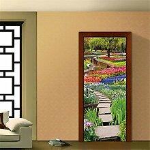 DFKJ 3D Tür Aufkleber Herbst Gelb Bonsai