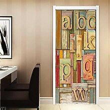 DFKJ Retro Holzmaserung 3D Englisch Buchstaben