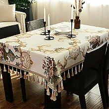 DHHY Chenille Baumwolle und Leinen Tischdecke
