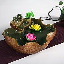 DHJUST Keramik Wasser Dekoration Büro Zhaocai kreative Aquarium Wasser Luftbefeuchter, E