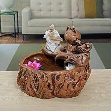 DHJUST Keramik Wasser Dekoration Büro Zhaocai kreative Aquarium Wasser Luftbefeuchter, F