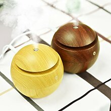 DHJUST Mini Holz Usb-Luftbefeuchter Luftbefeuchter, 9,7 * 9,7 * 9.7Cm, Braun