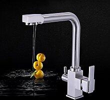 Dhpz Küchenarmatur Kupfer Rotierenden Küche Wasserfilter Trinkbecken Edelstahl Waschbecken Heiß Und Kalt Drei