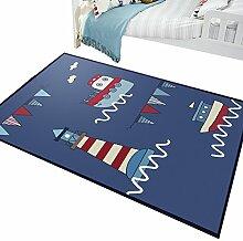 DHWHT HWH Teppich, Kinderzimmer Blau Junge