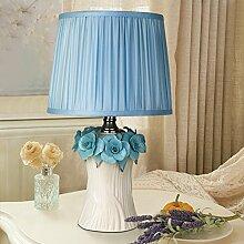 DHWJ Koreanische keramik tischleuchte Schlafzimmer bett lampe Warm pastorale prinzessin tischleuchte-B