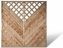 """Diagonal Lamellenzaun Sichtschutzwände Maß 180 x 180 cm (Breite x Höhe) mit Rankhilfe aus Kiefer / Fichte Holz, druckimprägniert """"Berlin Diagonal"""