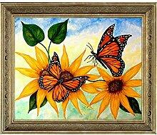Diamant-Gemälde mit zwei Schmetterlingen,