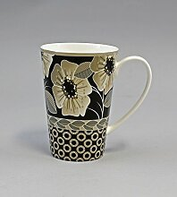 Diamantporzellan Becher/Tasse Schwarze Blüten