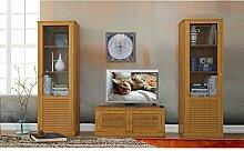 DIAN Wohnwand Wohnzimmer 3-teilige Set Vitrine Lowboard Kiefer massiv gebeizt geölt im Landhausstil