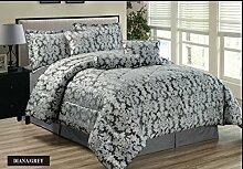 Diane 7tlg. Bettüberwurf Bettdecke Moderne Silber