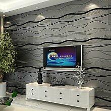 Dicke Vliestapete Wellen Kurven Streifen modern minimalistisches Wohnzimmer Wohnzimmer Fernseher Hintergrund Wand Tapete, Only the wallpaper, Black-grey
