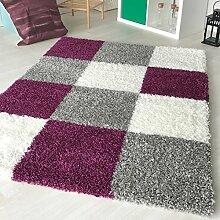 """Dicke x mynes zu Hause, kleine Größe, Einfarbig, weiche Shaggy-Teppich, moderner Teppich Teppich mit, Polypropylen, Violett (viereckig), 160x230 cm (5'3"""" x7'7)"""