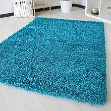 Dicke x mynes zu Hause, kleine Größe, Einfarbig, weiche Shaggy-Teppich, moderner Teppich Teppich mit, Polypropylen, türkis, 120x170 cm (4'x5'6)