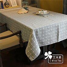 Dicker Baumwolle Plaid Tischdecken Tischdecken einfache moderne Garten Tischdecke, hellgrau, 130x180cm,