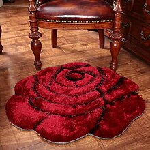 Dicker Mode 3D Stereo Rosen Teppich Schlafzimmer Bettdecke runden Teppich Computer Stuhl Teppich , 1 , 120*120cm