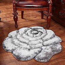 Dicker Mode 3D Stereo Rosen Teppich Schlafzimmer Bettdecke runden Teppich Computer Stuhl Teppich , 8 , 120*120cm