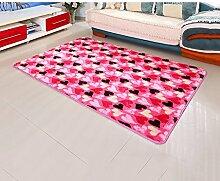 Dicker Modernes Bett Beistelltisch Schlafzimmer Mode rechteckigen Wohnzimmer Teppich A+ ( Farbe : Pink , größe : 140*200cm )