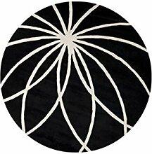 Dicker runden Teppich im Wohnzimmer Schlafzimmer für Couchtisch Nachttisch Stuhl Bereich Teppich Matte Schwarzer Hintergrund Weißes Linie Muster ( größe : Diameter 90cm )