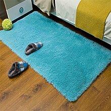 Dicker waschbarer Teppich Footmats Seidige Matte für Wohnzimmer-Schlafzimmer-Kaffee-Tabellen-Wolldecke Saugfähige schnell trocknende Innenboden-/Tür-Matten (Color : Royal blue, Größe : 70*160cm)