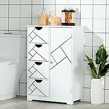 DICTAC Badezimmer Kommode Weiss Badschrank mit