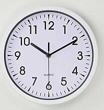 DIDADI Wall Clock 10-Zoll kleines Schlafzimmer Wanduhr elegant und einfach stumm Wohnzimmer Uhren kreative office Quarzuhr Wanduhr, 10 Zoll, und Elfenbein