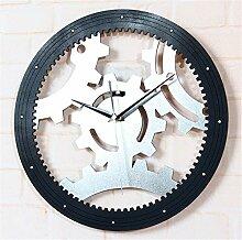 DIDADI Wall Clock 3D Stereo Metal Gear Wanduhr creative Gear Uhr Kontinentales antike Wanduhr time clock Mute 12 Zoll