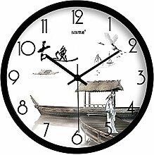 DIDADI Wall Clock Alte Yat Tinte menschlichen Landschaft kreative Wohnzimmer Schlafzimmer mute Wanduhr Quarz Uhren 12.