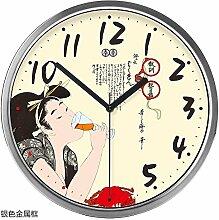 "DIDADI Wall Clock Art Wall Chart Wanduhr Holz original Wohnzimmer mute Quarzuhr, 12"", silber metal Box"