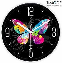 DIDADI Wall Clock Art Wall clock mute Wohnzimmer Trend Watch Korean bunte Schmetterlinge Wanduhr 12 Zoll