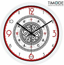 DIDADI Wall Clock Das Erscheinungsbild der Kunst Wohnzimmer Quarzuhr antiken traditionellen chinesischen Wanduhr 12 cm Stummschaltung