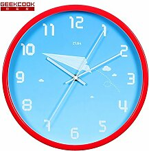 """DIDADI Wall Clock Das kreative Design runden Metall mute Kinder Wohnzimmer Wanduhr Zimmer 12 Schlafzimmer """"Cartoon clock"""