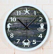 DIDADI Wall Clock Das Nordic Sea 3D Stereo Wanduhr Continental retro Garten Wand wenn Wanduhren baufälligen Holz- 12 Zoll