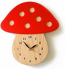 DIDADI Wall Clock Der Pilz Wanduhr kunst Garten Holz Wanduhr - tischuhr Quarzuhr 12 Zoll